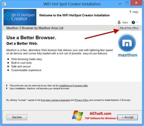 Screenshot Wi-Fi HotSpot Creator für Windows 7