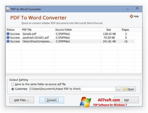 Screenshot PDF to Word Converter für Windows 7