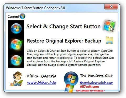Screenshot Windows 7 Start Button Changer für Windows 7